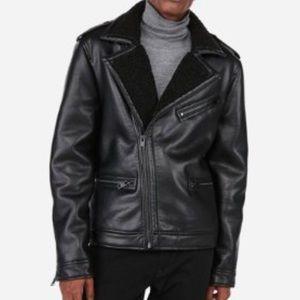 EXPRESS MENS Faux Leather Fur Collar Biker Jacket